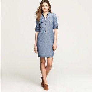 JCrew classic roll tab sleeve denim dress
